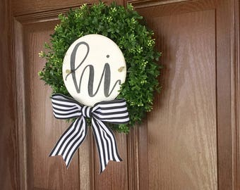 Sign Boxwood Wreath, Wreath with Hand Lettered Sign, Black White Wreath, Sign on a Wreath, Boxwood Wreath with a Sign