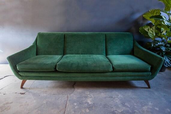 Mid Century Green Velvet Vintage Sofa Couch