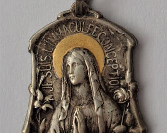 Gorgeous Old Religious Medal Virgin Mary