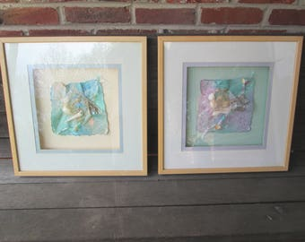 set of 2 large 17x 17 shadow box aquatic framed wall art