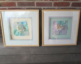 set of 2 large 17x 17 shadow box aquatic framed wall art