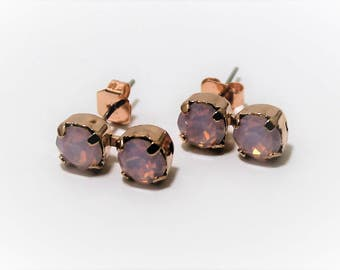 Rose Gold Stud Earrings made with Rose Water Opal Swarovski Crystal Elements and Surgical Steel Posts by LadyCJewellery