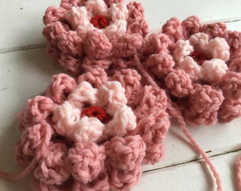 Crocheted soft fluffy flower gehaakte bloem crochet