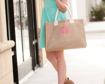 Burlap tote bag, Handbags, Monogram tote bag, Personalized tote, Monogram purse, Burlap purse, Initial tote bag, Bridemaid gift, Burlap bag