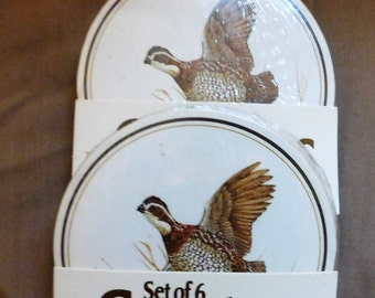 2 sets of 6 Cork Pheasant Coasters