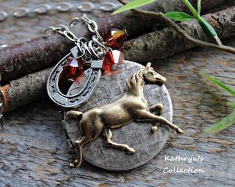 Horse Locket Necklace, Horse Necklace, See all Five photos, read description -