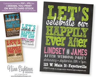 After Wedding Party INVITATION. Let's Celebrate our Happily Ever After. Custom Printable PDF/JPG. I design, you print.