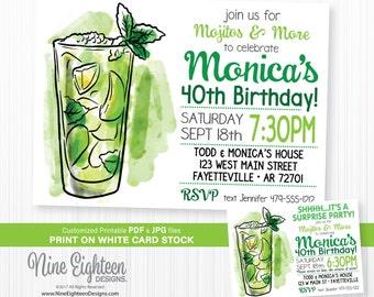 Mojito Birthday Party INVITATION. Personalized Printable Birthday Invitation PDF/JPG.