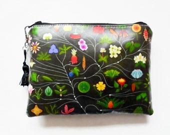 waterproof black botanical ladies wallet/clutch/make-up/glasses bag