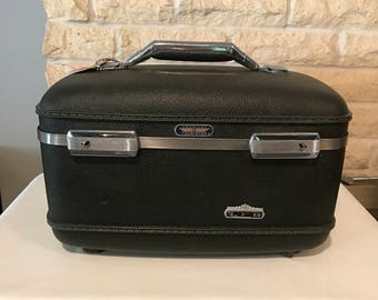 Vintage Slate Colored American Tourister Train Case