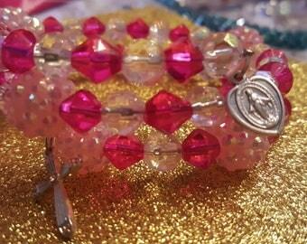 ROSARY BRACELET hot and light pink