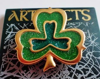JJ Jonette Irish Shamrock Brooch Pin