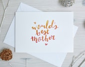Mother's Day Card | Birthday Card Mom | 'World's Best Mother' | Birthday Card Mum | Handwritten, Calligraphy, Brush Lettering