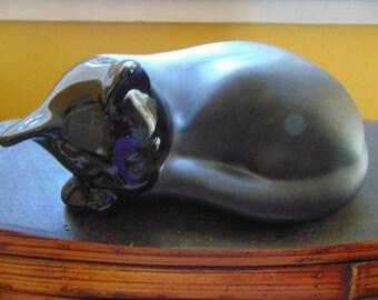 Sleeping Black Ceramic Cat