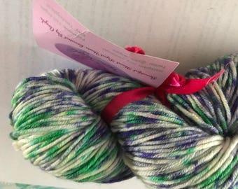 SALE iris superwash DK hand dyed yarn skein