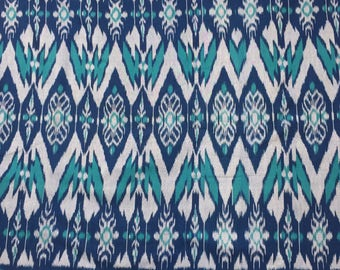 Hand woven aqua, navy blue, silver gray 100% cotton ikat fabric by the yard