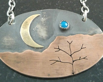 Moon and Mountains Necklace