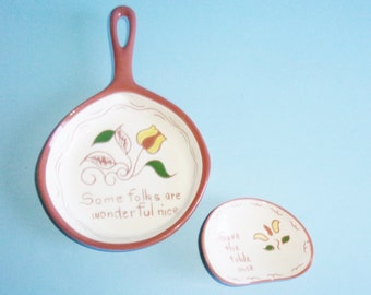 Ruth Price Motto Ware Pottery Skillet or Frying Pan Shaped Dish and Spoon Rest Pennsylvania Dutch Redware Vintage
