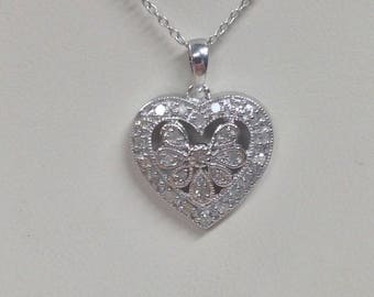 Natural Diamond Heart Necklace 925 Sterling Silver