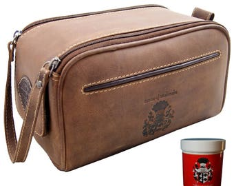 Toiletry bag - Cosmetic bag COUSTEAU brown Eco-Leather - BARON of MALTZAHN