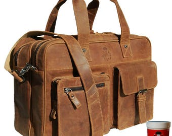 Briefcase with laptop sleeve GOETHE brown leather - BARON of MALTZAHN