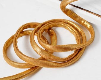 6mm Gold Spaghetti Elastic Trim, Stretch Elastic Band by 1-yard, STEP-1901