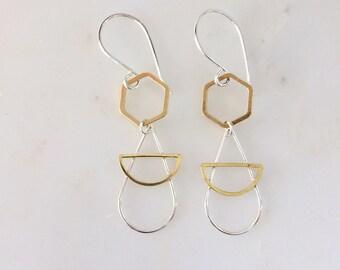 Geometric Angel Earrings - Angel Shape Earrings - Geometric Dangling - Angel Dangling Earrings.