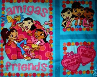 Amigas, Friends panels on blue cotton by Springs' Maya and Miguel series.. 3 pictures per yard. LAST ONE.