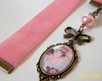 Dusty Pink Velvet Ribbon Bookmark w/ Victorian lady