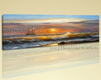 Large Seascape Boat Abstract Canvas Wall Art Decor Living Room One Piece Print, Large Sunset Wall Art, Living Room, Beaver