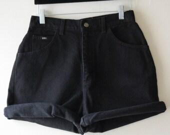 Black Denim Shorts by Lee // 90s High Waisted Shorts // Cuffed Shorts // Grunge // Boho