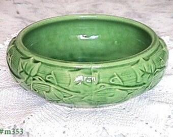 "Vintage Shawnee Pottery Ivy Pattern Green 8"" Bulb Bowl Planter (Inventory #M353)"