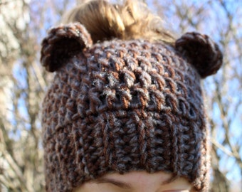 RTS Messy Bun Bear Hat, Ponytail Beanie, Ready to Ship, Get by Christmas, Handmade Crochet Messy Bun Beanie, Knit Pony tail Hat