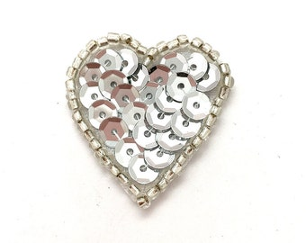 "Heart with Silver Sequins and Beads 1""  -44079"
