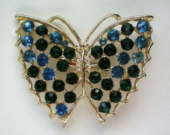 Blue Rhinestone Butterfly Pin - 5250