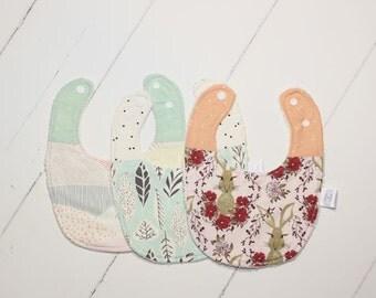 Heirloom Baby Bib Trio // Girls Bunny Trio
