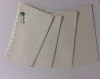 NOS Vintage Irish Linen Napkins White Set of 4
