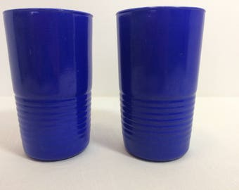 Moderntone Platonite Cobalt Blue Tumblers Set of 2 Vintage 1940s