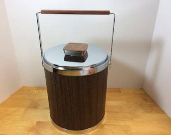 Kromex Ice Bucket Mid-Century Modern Chrome & Wood Grain Look Vintage 1960s