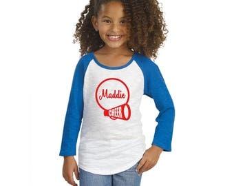 CHEER TSHIRT - Cheerleader shirt - Monogram Cheer Shirt - Cheerleading - Gym Shirt - Team Shirt Mom Shirt Cheer megaphone