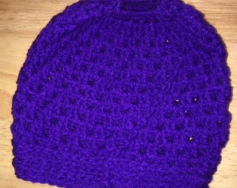 Purple Messy Bun Beanie
