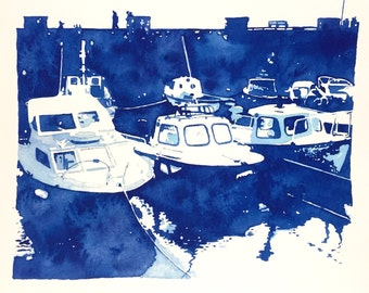 Carnlough Harbour watercolor print