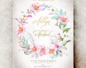 Floral Wedding Invitation printable - elegant wedding invitation, printable wedding invitation, rustic wedding invitation