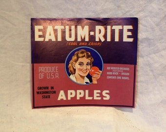 Crate Label, Eatum-Rite Apples, Old Fruit Crate Label, Agricultural Salvage