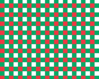 Red, green and white check craft  vinyl pattern sheet - HTV or Adhesive Vinyl -  htv3408