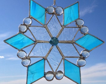Stained Glass Snowflake | Turquoise Stained Glass Star Suncatcher | Blue Snowflake Suncatcher | Christmas Star Sun Catcher Turquoise