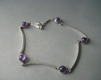 Gorgeous modernist silver and amethysts rod necklace by Arvo Saarela, Sweden, year 1963.