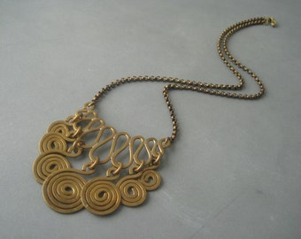 Large traditional, modernist brass necklace, Norway.