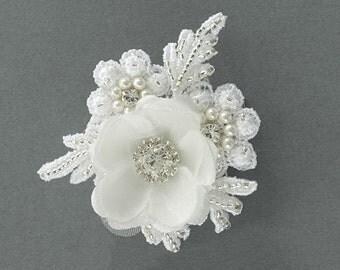 floral lace hair clip pearl hair accessories lace wedding hair accessories pearl hair