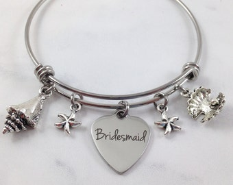 Bridesmaid Bracelet, Beach Wedding Bracelet, Summer Wedding, Bridesmaid Gift, Keepsake Jewelry, Wedding Bangle, Sea Shell Charms